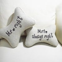ZLYC Set of 2 Mr.Right and Mrs.Always Right Bone Shape Pillows for Couple