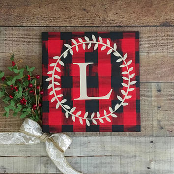 Buffalo Check Decor,Monogram Home Decor,Buffalo Plaid Christmas,Country Home Decor,Rustic Decor,Plaid Sign,Holiday Gift,Country Christmas
