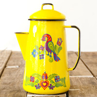 Yellow Metal Enamel Coffee Pot // Cinsa