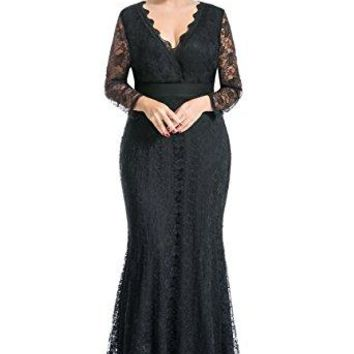 Myfeel Women Plus Size Maxi length Sleeves Lace Dress Spring event Gowns (1X, Black)