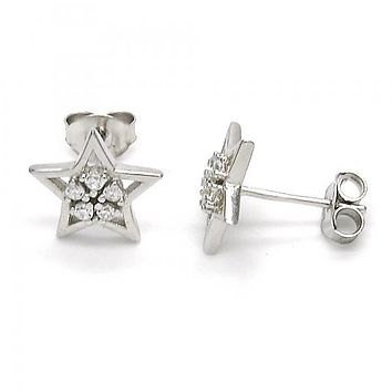 Sterling Silver 02.285.0075 Stud Earring, Star and Flower Design, with White Cubic Zirconia, Polished Finish,