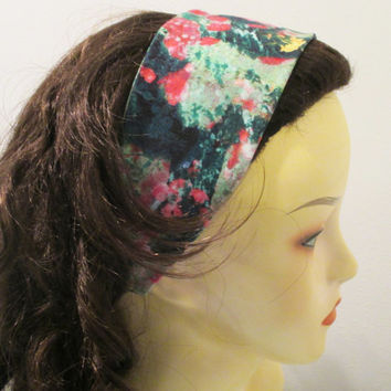 Reversible Wide Fabric Headband Pink and Green