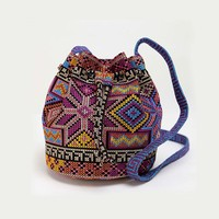 Women Ethnic Handbags Hmong Handmade Bucket Bags Embroidery Crossbody Bags For Women Sling Drawstring Shoulder Bags