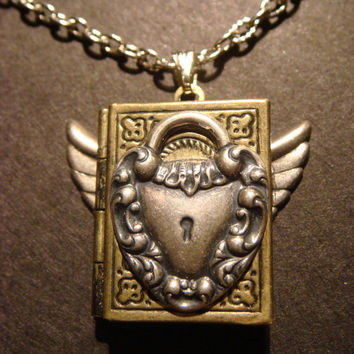 Steampunk  Book Locket with Heart Lock and Wings (523)