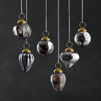 Mini Vintage Hand-Blown Glass Ornament Set of 6 - Smoke