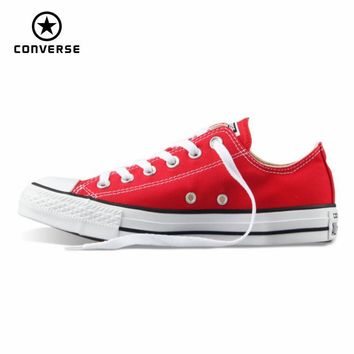 SHOES CONVERSE Original Converse all star canvas shoes womens sneakers low classic women Skateboarding Shoes red color
