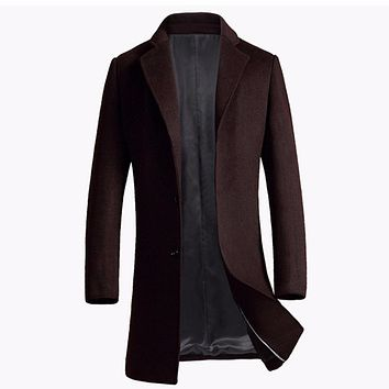 Custom-made Men's Wool Coats Jackets Winter Cashmere Jacket Man Long Section Business Style Overcoat Turn-down Collar
