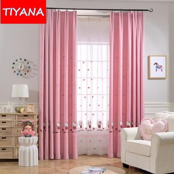 Pink Princess Cartoon Cat Curtains For Living Room