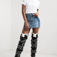 Cape Robbin Over The Knee Low Chunky Heel Pointed Toe Embroidered Slouchy Fit Cowboy Boots