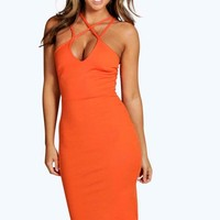 Clara Strappy Detail Bodycon Midi Dress | Boohoo