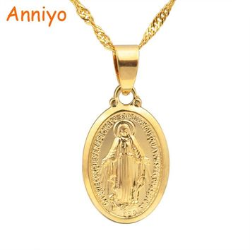 Anniyo Virgin Mary Pendant Necklace for Women/Girls,Silver/Gold Color Our Lady Jewelry Colar Cross Trendy Chain#006210