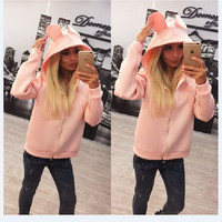 Hoodies Lovely Hats Zippers Jacket [9582092239]