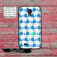 Whale Pattern Cute Pop Art Teal and Blue Fish Ocean Tumblr Custom Galaxy S5 and S4 and S3 Case and Galaxy Note 2 and Note 3 Case