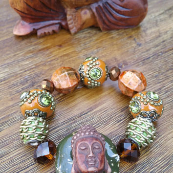 Glam Collection - One of a kind Wood Buddha Pendant/Mixed Beaded Charms Hand Made