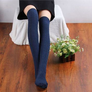 KLV 1 Pairs New Cotton Women Knit Over Knee Thigh Stockings Spiral Pattern High stockings over meias compridas sexy