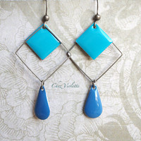 Blue geometric earring, Square bronze earrings, enamel beads dangle, minimalist pendant, modern earrings