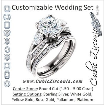 CZ Wedding Set, featuring The Jackie engagement ring (Customizable Round Center with Flanking Pear Accents and Pavé Band)