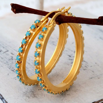 Gold hoop earrings, Turquoise rhinestone hoop Gold earrings, Turquoise hoop earrings, Gold or silver, modern everyday hoop earring