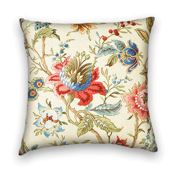 Decorative Pillow Cover 20 x 20 Floral Throw Pillow --Green, Red, Blue, Pink and Cream