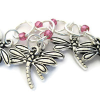 Charmed Stitch Marker Set | Beaded Stitchmarker | Knitting Stitch Marker | Knitting Gift | Dragonfly charm with pink beads | #S024