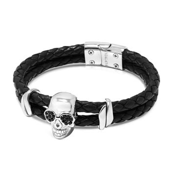 Men's Black Leather Bracelet with Silver Sunglass Skull