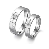 Stainless Steel Couple Rings Korean Jewelry lock/ key his and hers promise ring sets( womens)