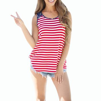 Canotta Donna Casual Loose Women Tops Sexy Halter Tops Women American Flag Printed Tank Tops Chalecos Mujer