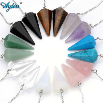 Ayliss 2017 Hot Sale Natural Stone Crystal Faceted Wicca Pendulum Pyramid Healing Reiki Chakra Dowsing Pendant For Men Women 1pc