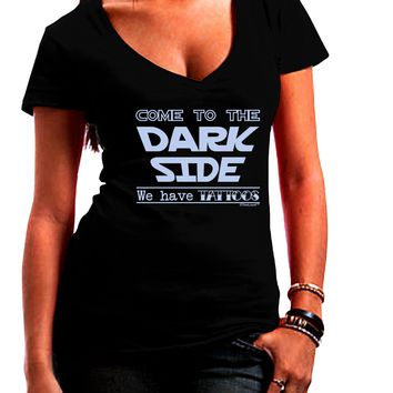 Come To The Dark Side - Tattoos Juniors Petite V-Neck Dark T-Shirt