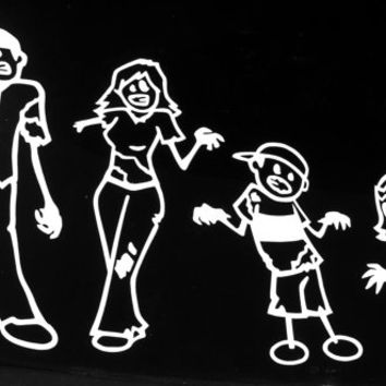 Zombie Stick Figure Family Vinyl Decal Sticker