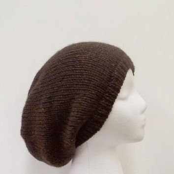 Knitted slouch hat, shades of brown, handmade oversized beanie  5042