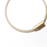 Light Gold Minimalist Choker, Skinny Tube Open Cuff Necklace