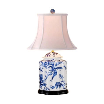 """Chinese Blue and White Porcelain Tea Caddy Bird Motif Table Lamp 27"""""""