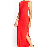 FOREVER 21 V-Back Maxi Dress Red