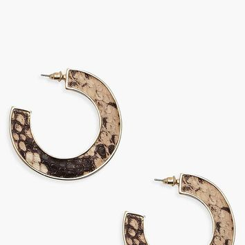 Snake Contrast Chunky Hoop Earrings | Boohoo