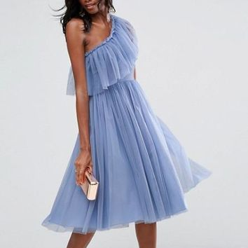 Women's Summer Dresses Sleeveless Knee-Length Tulle One Shoulder