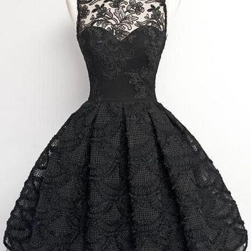 A-Line Short Sleeveless Vintage Black Lace Prom/Homecoming Dress 2017 OK229