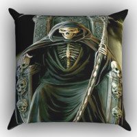 Grim Reaper Skeleton King X1349 Zippered Pillows  Covers 16x16, 18x18, 20x20 Inches
