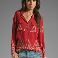 Indah Giselle Button Down Travel Shirt Dress in Endek Red from REVOLVEclothing.com