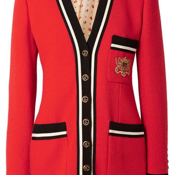 Gucci - Appliquéd grosgrain-trimmed wool-crepe jacket