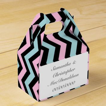 Pink mint and greystripe chevron wedding favor box