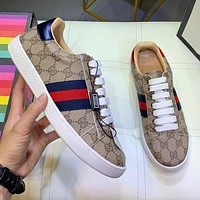 GUCCI Fashion Women Men Casual Leather Couple Sport Shoes Sneakers