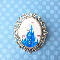 "Handmade ""Diamond Castle"" Disney Inspired Cameo Brooch with Silver Vintage Setting - Magic Kingdom"