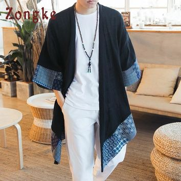 Trendy Zongke Chinese Kimono Cardigan Men Open Stitch Traditional Mens Kimono Cardigan Plus Size Long Kimono Jacket Men 2018 Summer AT_94_13