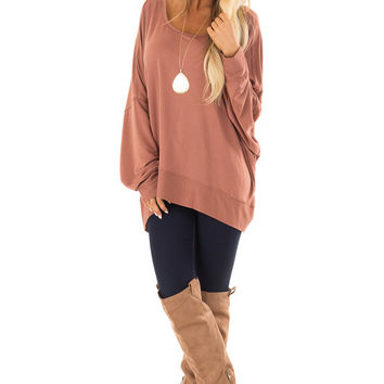 Cinnamon Reversible Long Batwing Sleeve Crossover Top
