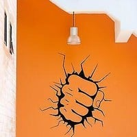 Wall Sticker Punch Breaking Wall Martial Art Decor for Garage  Unique Gift z1313