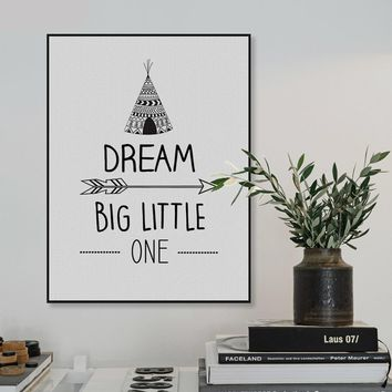 Dream Big Little One Motivational Inspirational Canvas - Print Wall Art Decor Quote