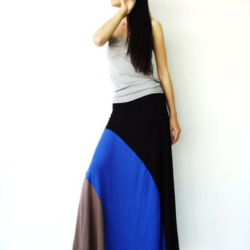 NO.102  Black-Blue-Light Brown Rayon Spandex Color Block Maxi Skirt Strapless Sun Dress