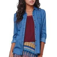 Bullhead Denim Co Chambray Utility Shirt - Womens Shirts - Blue