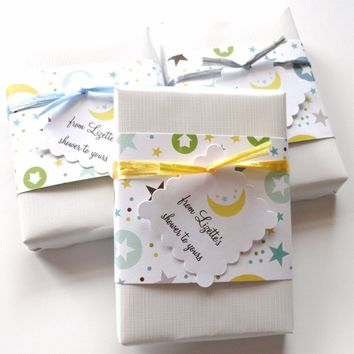 Twinkle Little Star Theme Baby Shower Favors with Custom Tags, From my shower to yours, Set of 12